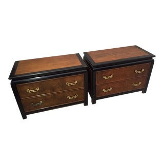 1970s Century Furniture Chin-Hua Burlwood and Lacquer 2-Drawer Nightstands-a Pair For Sale