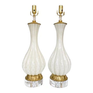 Vintage Gold and White Barbini Murano Lamp Vintage - a Pair For Sale