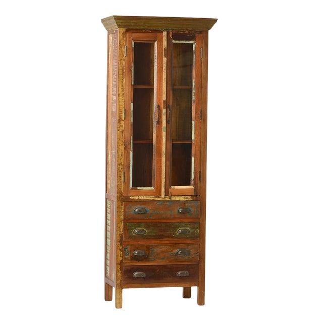 Reclaimed Wood Glass Door Cabinet - Image 1 of 2