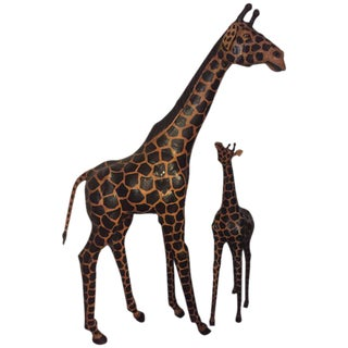 Lifesize Giraffes Each Made Of Painted Leather - A Pair For Sale