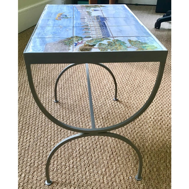 1980s French Handpainted Tile Table With French Chateau Chenonceau For Sale - Image 4 of 8