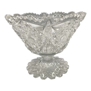 Crystal Saw Tooth Cut Bowl For Sale