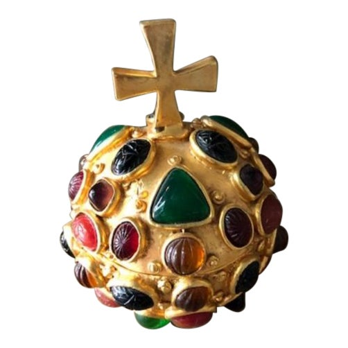 Gold Orb Box With Cabochon Jewels For Sale