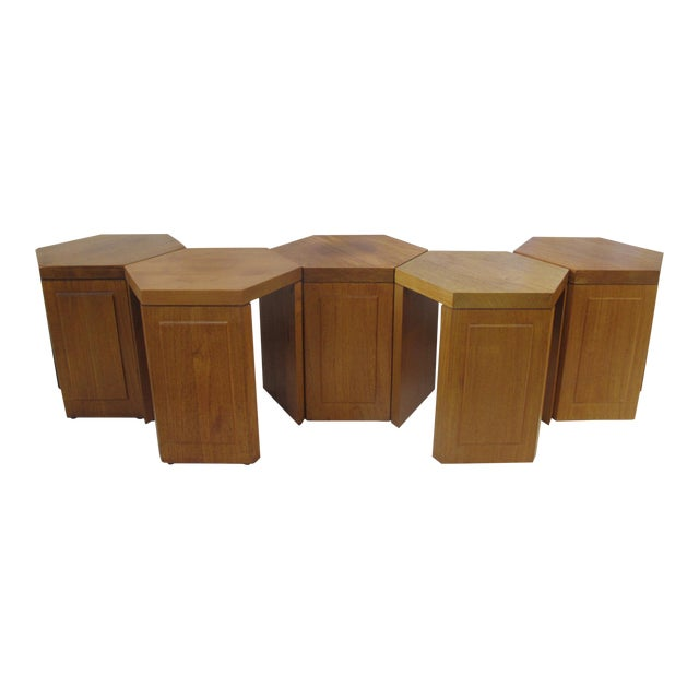 McGuire San Francisco Hexagon Side Tables - Set of 5 For Sale