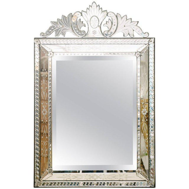Silver 1920's Venetian Etched and Beveled Glass Mirror For Sale - Image 8 of 8