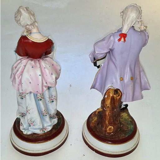 Late 18th Century Pair of 18c French Old Paris Porcelain Figurines- A Pair For Sale - Image 5 of 13