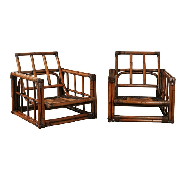 A Warm and Mellow Restored Pair of Cube Loungers by Ficks Reed, Circa 1970 For Sale - Image 11 of 11