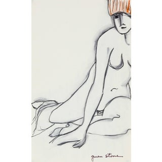 """Gwen Stone """"Seated Woman"""" Ink Sketch, 20th Century For Sale"""