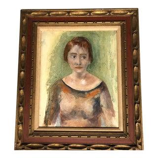 Original Vintage Mid Century Female Portrait Painting For Sale