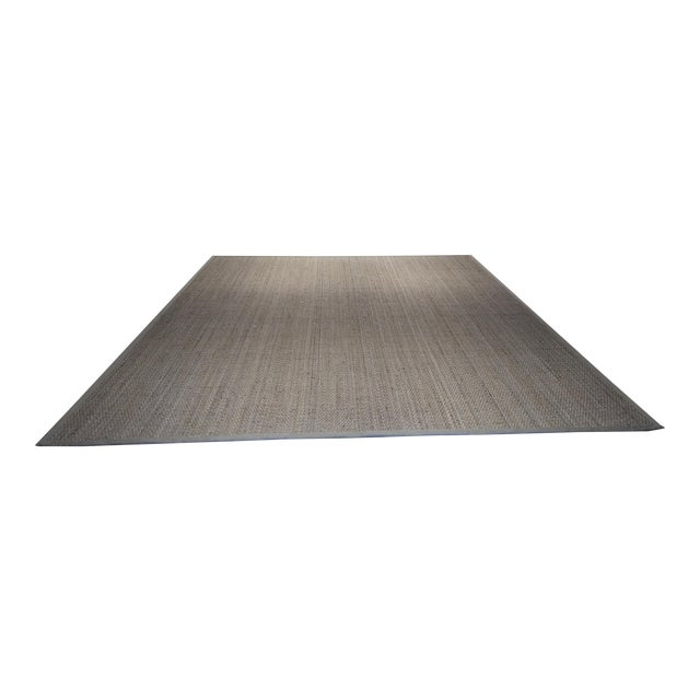 Jute Are Rug With Linen Binding - 13′ × 15′7″ For Sale