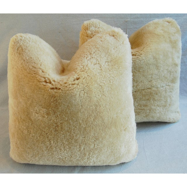 Plush Rich Golden Lambswool Pillows - Pair - Image 5 of 8