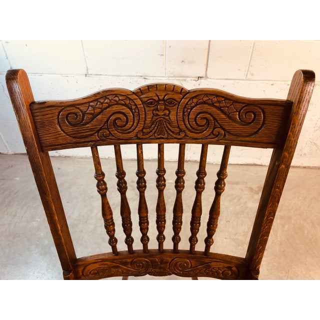 Wood Quarter-Sawn Oak Hand Carved Rocking Chair For Sale - Image 7 of 13