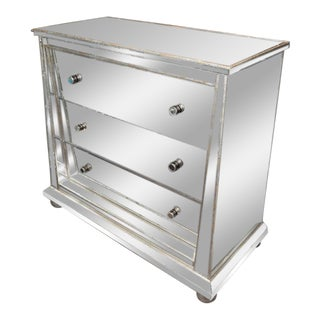 Custom Ball Foot Mirrored Commode with a Silver Leaf Trim For Sale