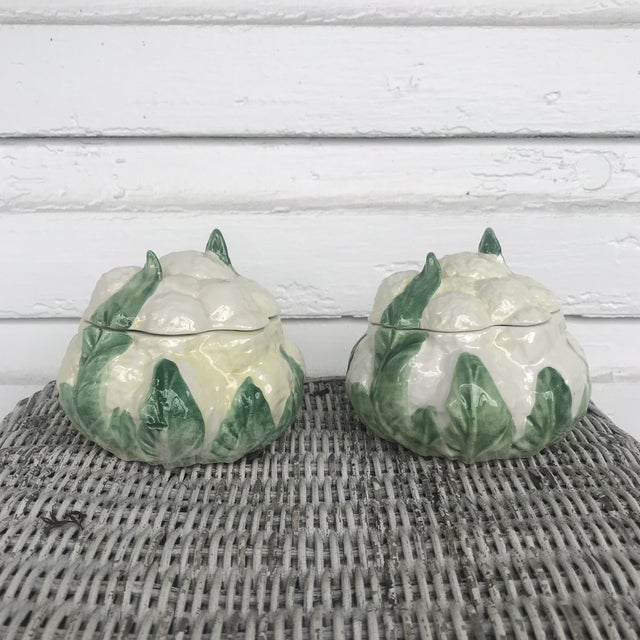Ceramic Vietri Cauliflower Trinket Boxes - a Pair For Sale - Image 7 of 7