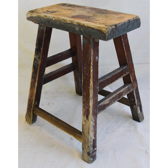 Cottage Rustic Primitive Country Wood Farmhouse Stool For Sale - Image 3 of 8