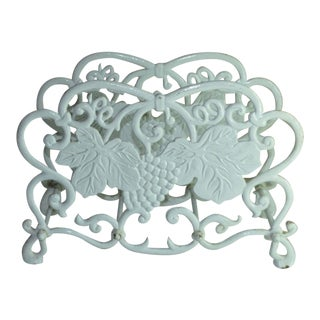 1950s Cottage White Cast Iron Grape Cluster Magazine Rack