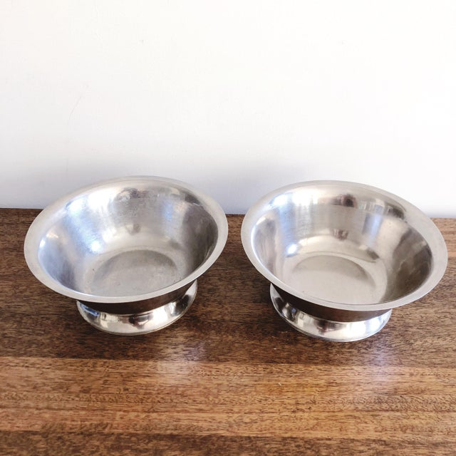 Minimalism Vintage Stainless Steel Bowls - a Pair For Sale - Image 3 of 6
