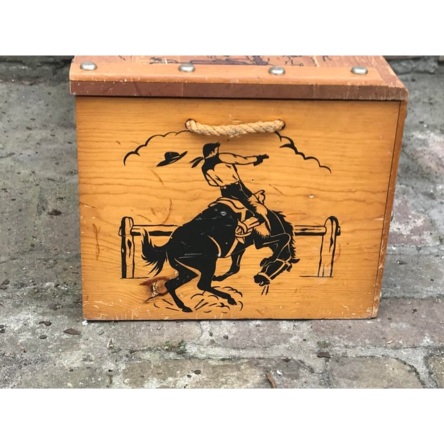 1950s Vintage Cowboys and Indians Wooden Toy Chest For Sale - Image 10 of 13