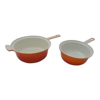 Vintage Mid-Century Descoware Orange Flame Sauce Pans - A Pair For Sale