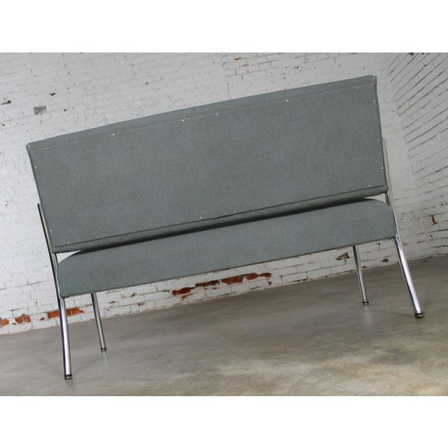 Art Deco Machine Age Streamline Moderne Royal Metal Co. Chrome and Upholstered Bench Sofa For Sale - Image 10 of 11