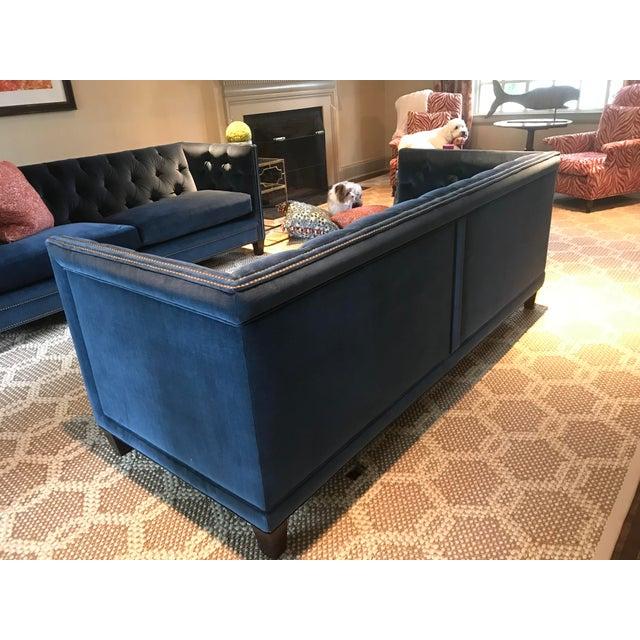 Kravet Kravet Malibu Blue Velvet Sofa For Sale - Image 4 of 7