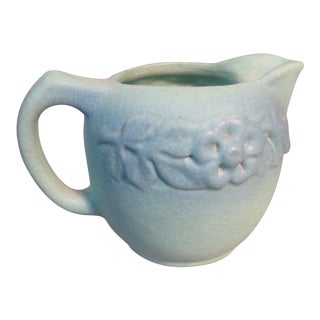 1930s Van Briggle Signed Pottery Creamer With Prairie Rose Relief Design For Sale