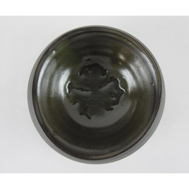 Rare Earth Bisque Black Signed Studio Pottery Bowl For Sale - Image 4 of 7