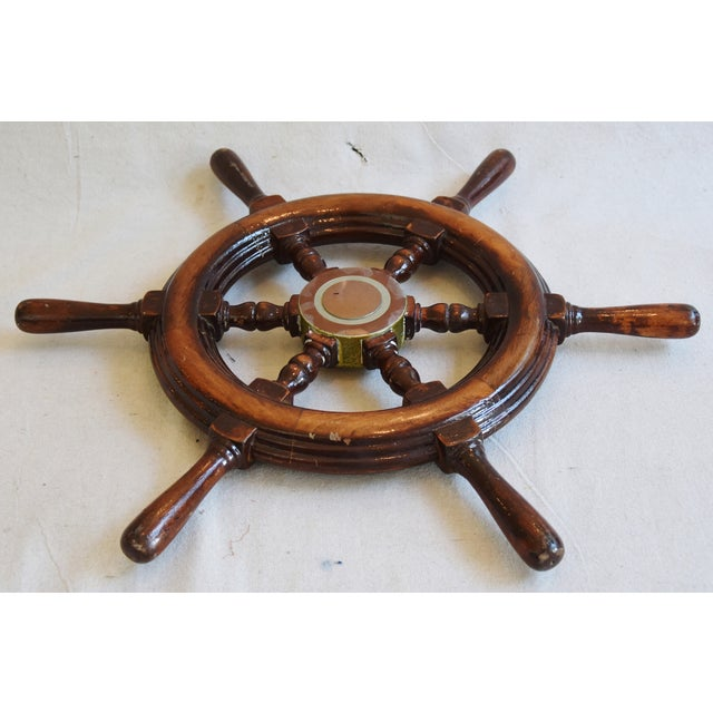 1950s Nautical Wood & Brass Ship's Wheel - Image 8 of 9