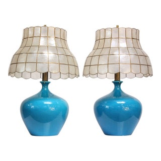 Single Vintage Ceramic Table Lamp With Capiz Shell Shade For Sale