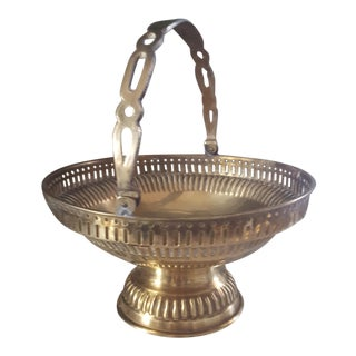 Mid Century Brass Pedestal Bowl w/ Handle