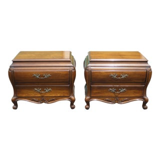 Pair Vintage Bombay Bombe Nightstands W Carved Wood by White Fine Furniture For Sale