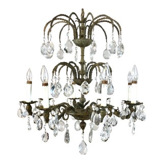 Vintage Spanish Lead Crystal 8-Light Chandelier