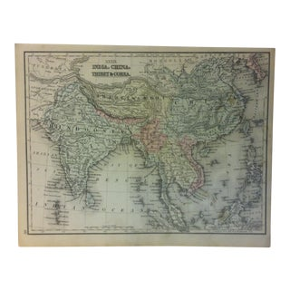 "1880s Antique Mitchell's Modern Atlas Map -- ""India - China - Thibet & Corea"" For Sale"
