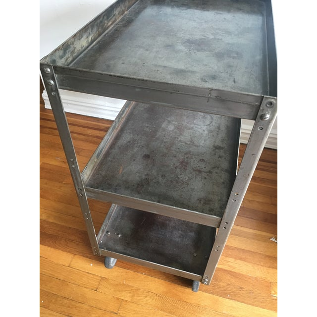 Contemporary Antique Industrial Metal Trolley Bar Cart For Sale - Image 3 of 4