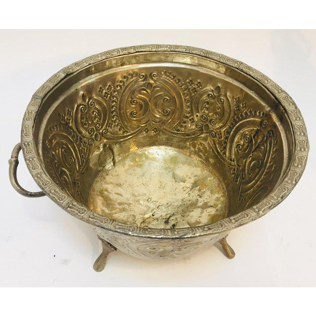 1940s Moroccan Silver Repousse Plated Serving Dish Tajine With Cover For Sale - Image 5 of 13