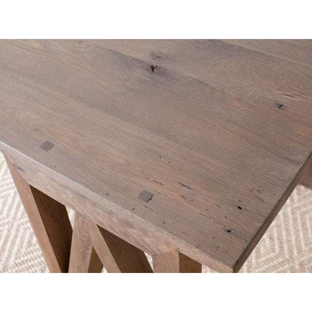 Contemporary Rectangular Oak V Dining Table For Sale - Image 4 of 5