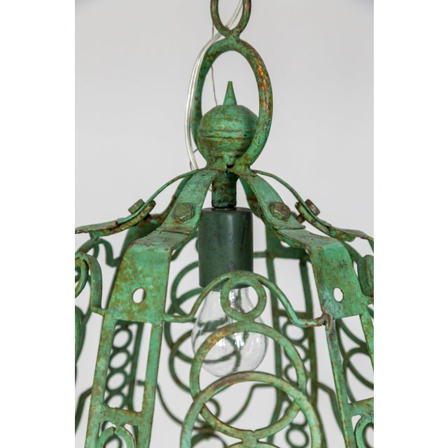 1920s 1920's Art Deco Green Oblong Cage Lantern With Circle Motif For Sale - Image 5 of 11