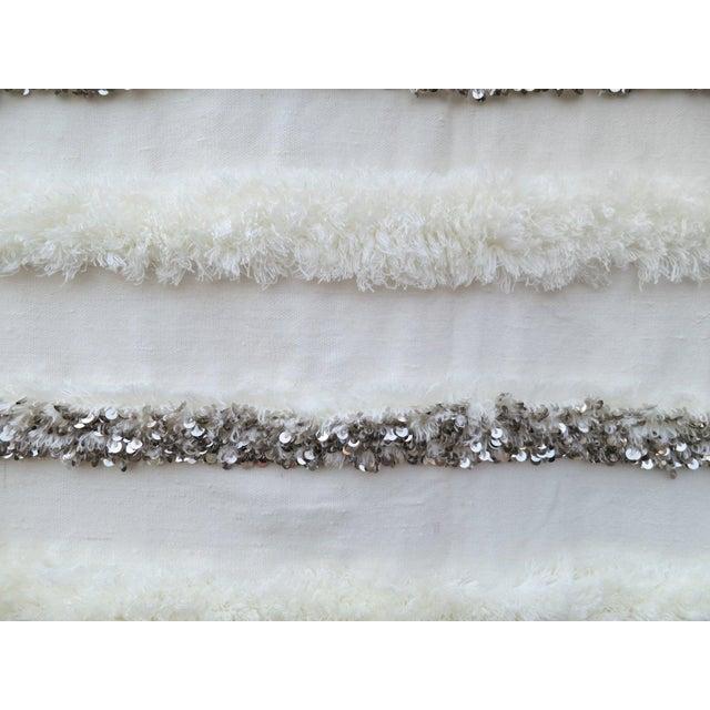 Blanc' Sequins & Fringe Moroccan Wedding Blanket For Sale - Image 4 of 6