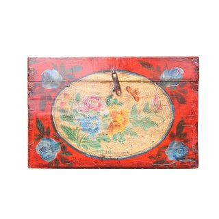 Chinese Vintage Red Floral Theme Trunk Box Chest For Sale