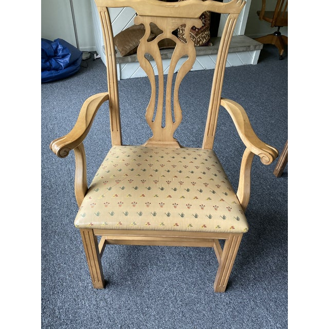 1980s Vintage Traditional Oak Dining Chairs- Set of 8 For Sale - Image 9 of 12