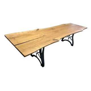 Organic Modern Live Edge Wood Dining or Conference Table For Sale