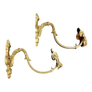 Antique Curtains Hooks in Solid Gilded Bronze - a Pair For Sale