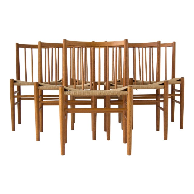 Spindle-Backed Oak and Danish Cord Dining Chairs - S/6 - Image 1 of 10