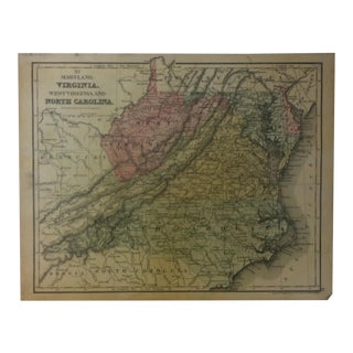 """Antique Mitchell's New School Atlas Map, """"Maryland - Virginia - West Virginia and North Carolina"""" by e.h. Butler & Co. Pub - 1865 For Sale"""