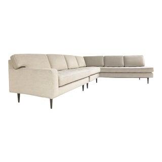 Vintage Mid-Century 2-Piece Sectional Sofa Restored in Gray Loro Piana Alpaca Wool