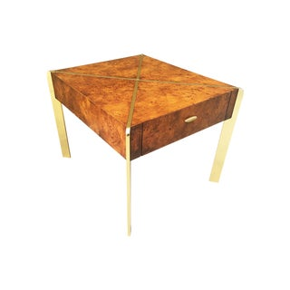 Milo Baughman Burlwood and Brass End Table For Sale