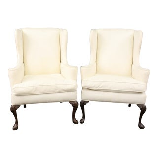 Queen Anne Wing Chairs - a Pair For Sale