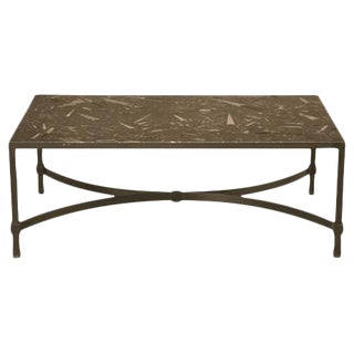 Vintage Fossil Stone Top Steel Cocktail Table For Sale