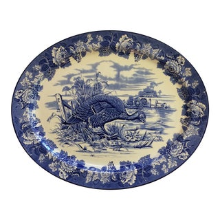 English Blue and White Transferware Wild Turkey Platter by Wood's Burslem England For Sale