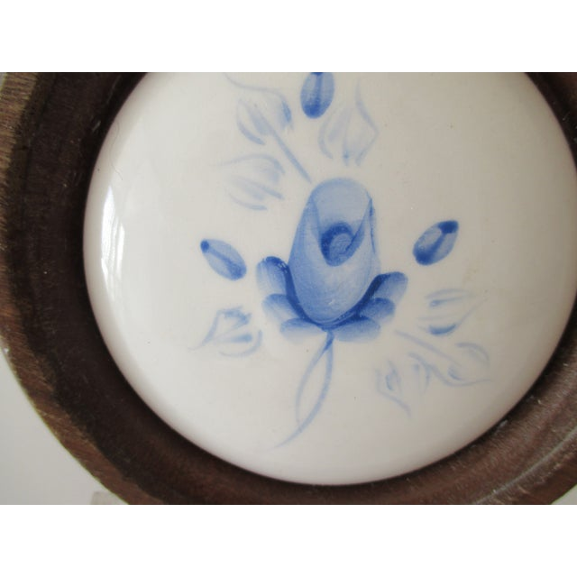 Vintage Porcelain Hand Painted Tile Framed in a Circle of Wood For Sale In Miami - Image 6 of 7